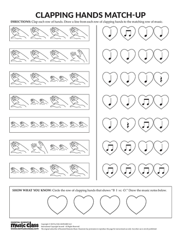 Clapping Hands Match-Up - Activity Page