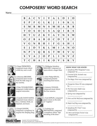 Composer Word Search 2 - Activity Page