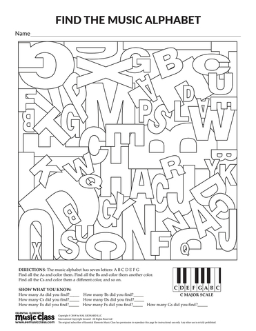 Find the Music Alphabet - Activity Page