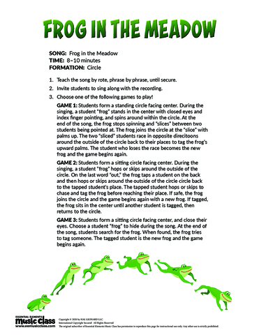 Frog in the Meadow Lesson Plan