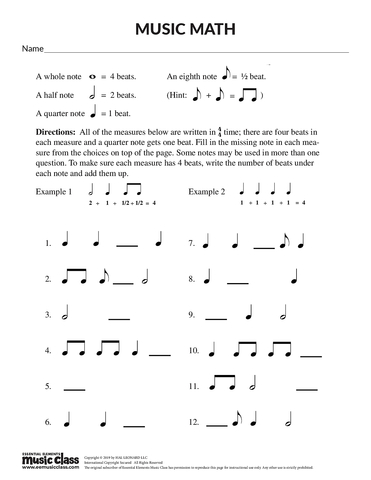 Music Math - Activity Page