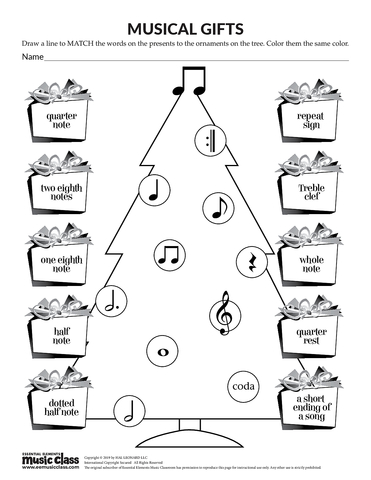 Musical Gifts - Activity Page