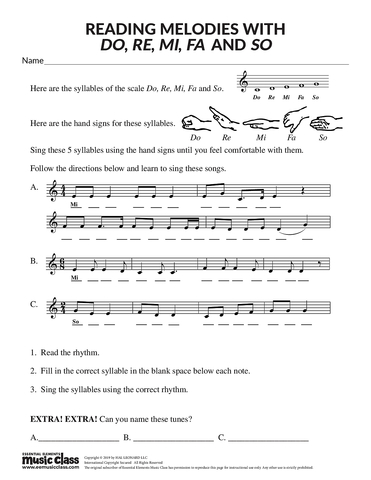 Reading Melodies with Do, Re, Mi, Fa, and So - Activity Page