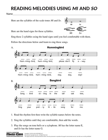 Reading Melodies Using Mi and So - Activity Page