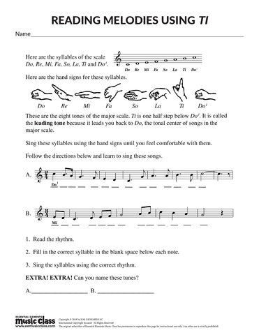 Reading Melodies Using Ti - Activity Page