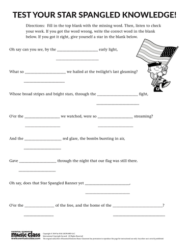 Test Your Star Spangled Knowledge - Activity Page
