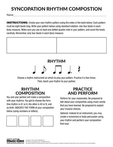 Syncopation Rhythm Composition - Activity Page