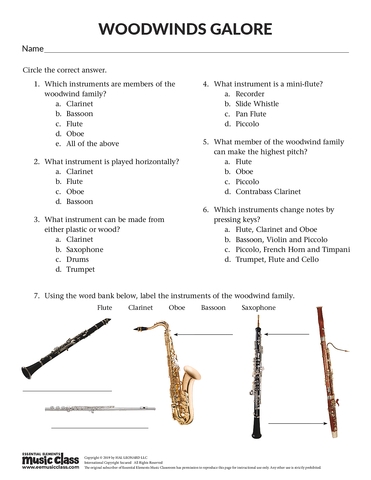 Woodwind Galore - Activity Page